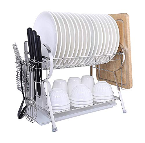 MICOE Stainless Steel Dish Drain Drying Rack 2 Tier Large Now $17.49 (Was $70.00)