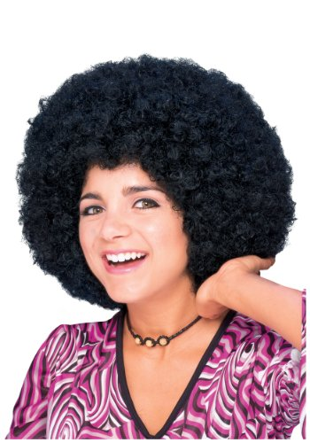 - Rubie's Humor Mid Length Afro Black Wig, Black, One Size