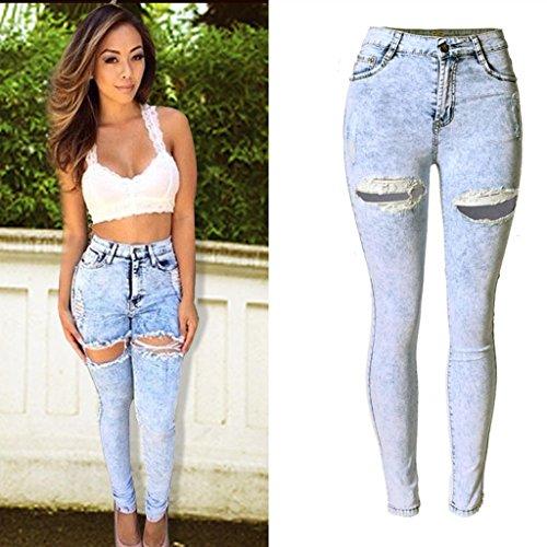 Jeans Skinny Picture Disco Pantaloni Color Elastico Lampo Della Alta Womens Delle Ghette Strappato Dei Tasca Vita Matita Wgwioo Chiusura Sottile Sfilacciato wfxE5q1HfX