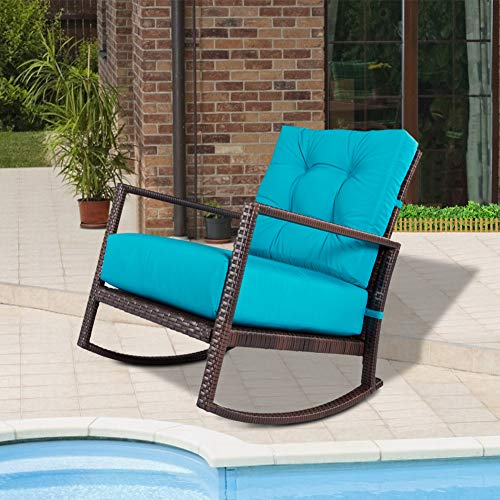 Crownland Outdoor Patio Rocking Chair Wicker Chair with Thick Cushion Rocking Bistro for Backyard Balcony Garden Pool, Blue