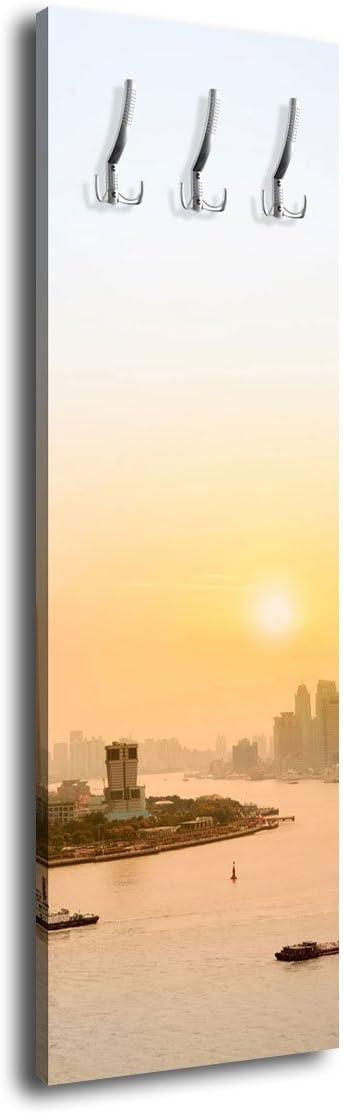 wandmotiv24 Appendiabiti da Parete con Design Shanghai Bund G182/40/x 125/cm Appendiabiti da Parete China Bund Skyline