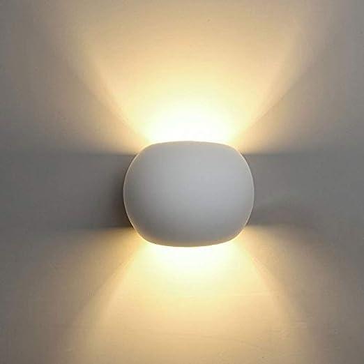 Eurekaled Applique Sfera In Gesso Ceramico Luce Diffusa Ideale Come Lampada Da Muro Camera Da Letto Applique Verniciabile Design Moderno Amazon It Illuminazione