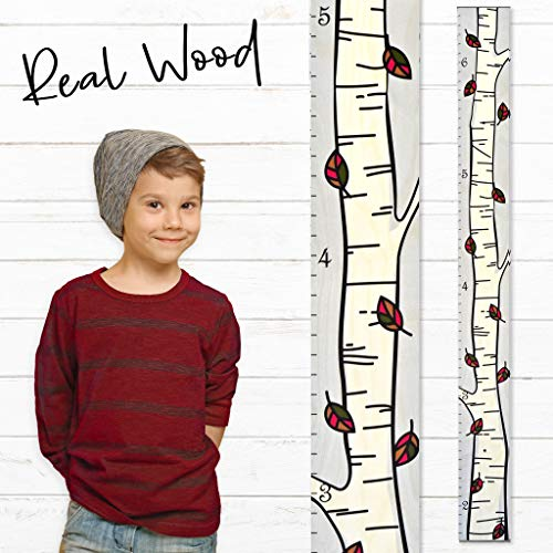 Growth Chart Art | Wooden Birch Tree Growth Chart for Kids [Boys and Girls] | Growth Chart Ruler Kids Height Chart | Measuring Kids Height Wall Decor for Kids | Fall Leaf Single (Autumn Chart)