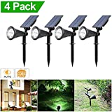 Cheap Solar Powered Spotlight, Solar Lights 2-in-1 Waterproof Outdoor Landscape Lighting Wall Light Auto On/Off for Yard Garden Driveway Pathway Pool,Pack of 4 (White Light)