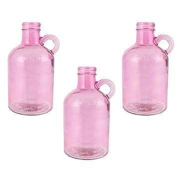 Estilo rústico color rosa jarrón de cristal – Peso pesado resistente botella jarrón de asa de