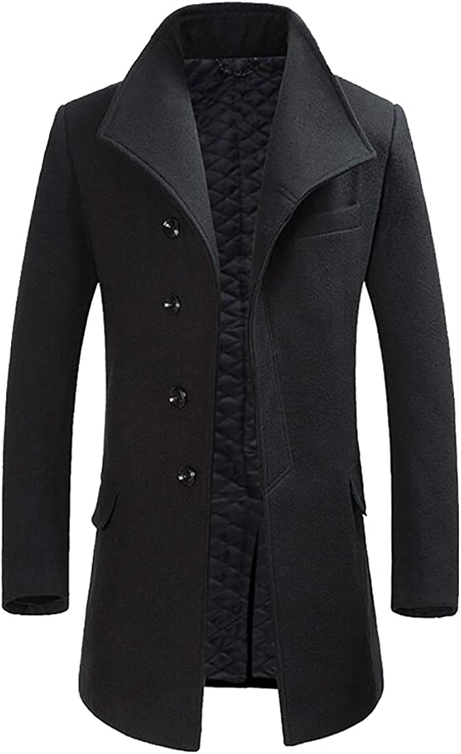lovever Mens Single Breasted Trench Coat Long Wool Blend Pea Jacket Overcoat