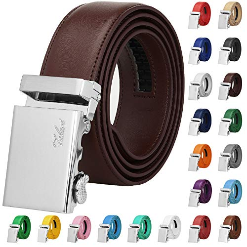 Falari Men Unisex Genuine Leather Ratchet Dress Belt Automatic Sliding Buckle - 20 Variety Colors - Trim to Fit