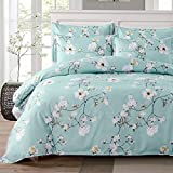 Bedding 3 Piece Duvet Cover Set Queen/Full, Reversible Printing Light Blue Queen