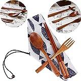 Chopsticks Spoon Fork Tableware 3pcs Set, LtrottedJ Japanese Vintage Wooden Chopsticks Spoon Fork Tableware 3pcs Set New Gift