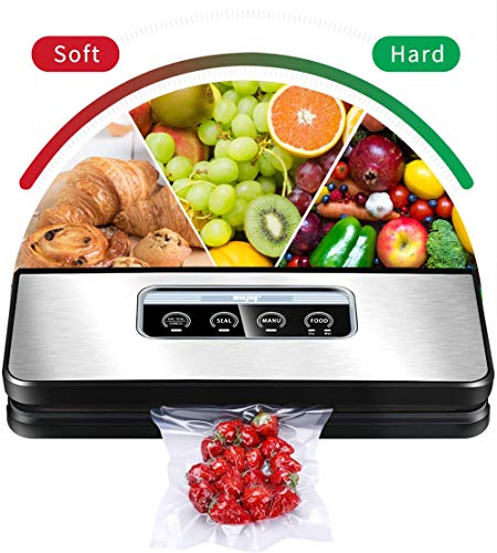 Vacuum Sealer Machine, Winjoy Automatic Food Sealer for Food Savers Starter Kit Touch Pannel and LCD Display Dry & Moist Food Modes  Compact Design (Silver) ...