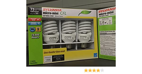 Sylvania 20w (75w) ** INSTANT ON ** Micro-mini CFL, Soft White - 3 Pack 10, 000 Hrs. - - Amazon.com
