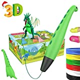 TECBOSS 3D Pen, Dinosaur Design 3D Printing Pen for Kids 【Newest Version】USB Charging 2 Speed 2 Mode with Bonus PLA Filament, Best Interesting Christmas Gifts for All Age