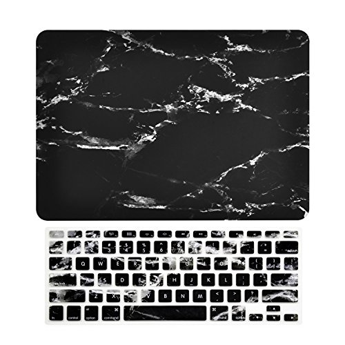 Logo Marble (TOP CASE – 2 in 1 Bundle Deal Black Marble Pattern Rubberized Hard Case + Keyboard Cover for MacBook Air 13