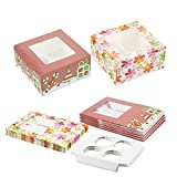 12 Pack Christmas Cupcake Gift Boxes with Windows - Holiday Baking Cupcake and Muffin Holder Containers - Each Box Holds 4 Cupcakes - Christmas and Flower Designs, 6 of Each, 6.25 x 6.25 x 3 Inches