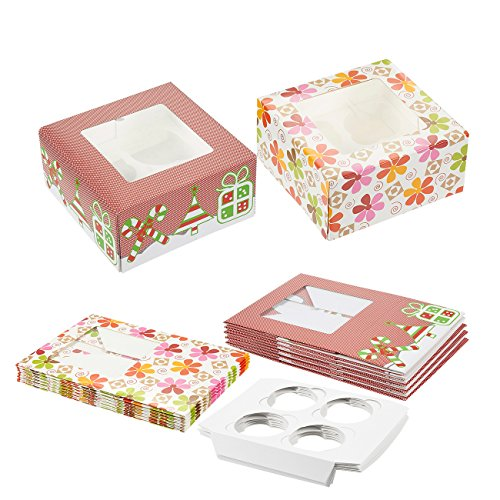 12 Pack Christmas Cupcake Gift Boxes with Windows - Holiday Baking Cupcake and Muffin Holder Containers - Each Box Holds 4 Cupcakes - Christmas and Flower Designs, 6 of Each, 6.25 x 6.25 x 3 (Cute Cupcake Boxes)