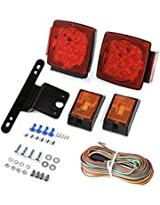 CZC AUTO 12V LED Submersible Trailer Tail Light Kit Stop Tail Turn Signal Lights for Under 80 Inch Boat Trailer Truck RV Snowmobile