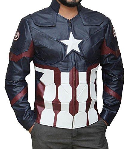BlingSoul Captain America Winter Soldier Jacket - Navy Blue Leather Jacket (M)