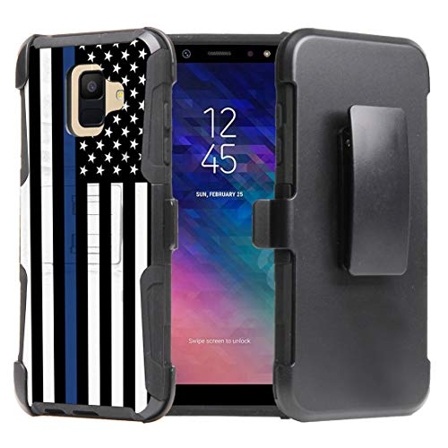 Beyond Cell Dual Layer Shockproof Holster Kickstand Case for Samsung Galaxy A6 - Thin Blue Line USA Flag from Bemz Depot