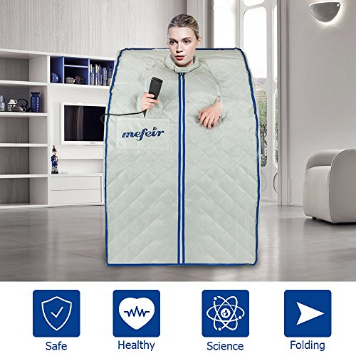 Mefeir Portable Far Infrared Sauna Home SPA, Folding Full Body Slimming Loss Weight, Detox Therapy One Person, w/Heating Foot Pad and Folding Chair