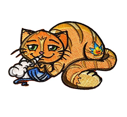 Smoking Cat - Pot Smoking Pals Chesire Golden Cat - Iron on Embroidered Patch Applique