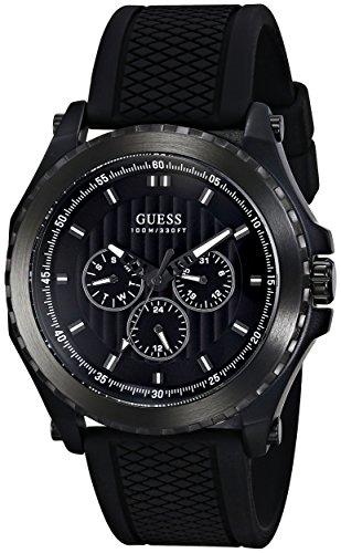 GUESS-Mens-U0063G1-Sporty-Silicone-Black-Watch
