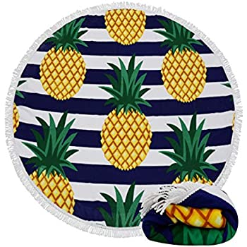 Genovega (24 Options Thick Round Beach Towel Blanket - Fruit Pineapple Large Circle Circular Mat
