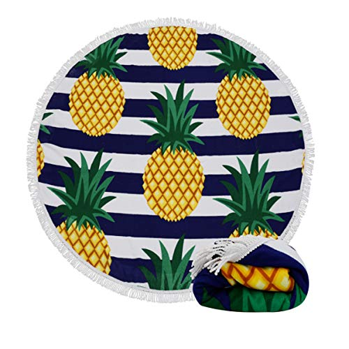 Genovega (24 Options Thick Round Beach Towel Blanket - Fruit Pineapple Large Circle Circular Mat