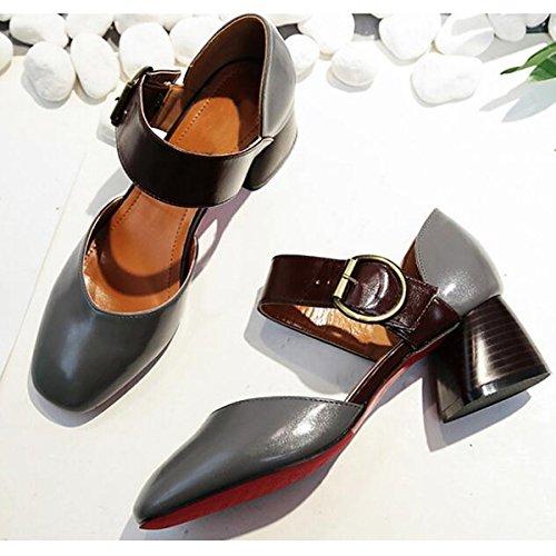DIMAOL Chaussures Pour Femmes PU Printemps Automne Comfort Heels Talon Pour Un Jaune Gris Beige Gris,Nous,6/EU36/UK4/CN36