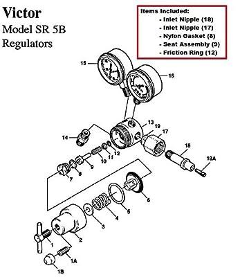 Victor SR5B Oxygen Regulator Rebuild/Repair Parts Kit, CGA-540