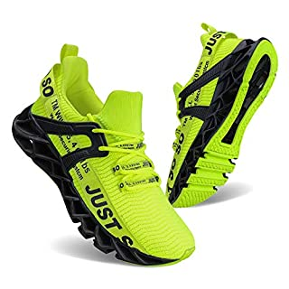 UMYOGO Sport Running Shoes for Mens Mesh Breathable Trail Runners Fashion Sneakers Green
