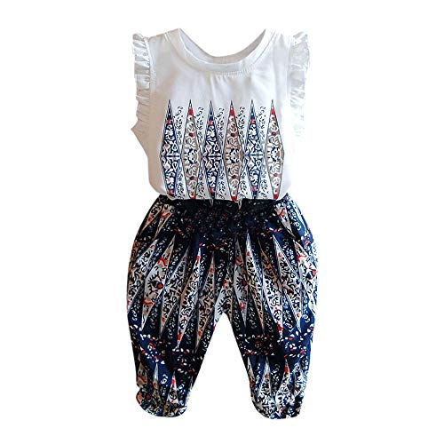 Clothful  for 0-6 Years Old Kids Outfits, Children's National Wind Print top Vest + Pants Two-Piece Suit ()
