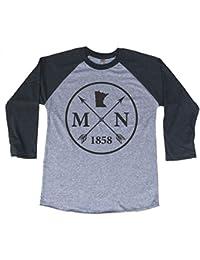 Unisex Minnesota Arrow 3/4 Length Baseball Style Raglan T-Shirt