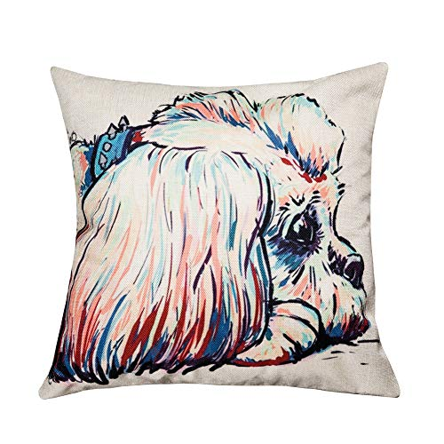 FLY SPRAY Throw Pillow Covers Cartoon Square Decorative Cute Lying Shih Tzu Dog Colorful Cotton Linen Pillowcase Dogs Pattern Sofa Cushion Cover 18