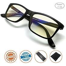J + S Vision Luz Azul Shield Powered iPad/Tablet anteojos de Lectura–Anti Luz Azul 100% UV el color de bajo Distorsión lente, Classic mate marco negro, 1