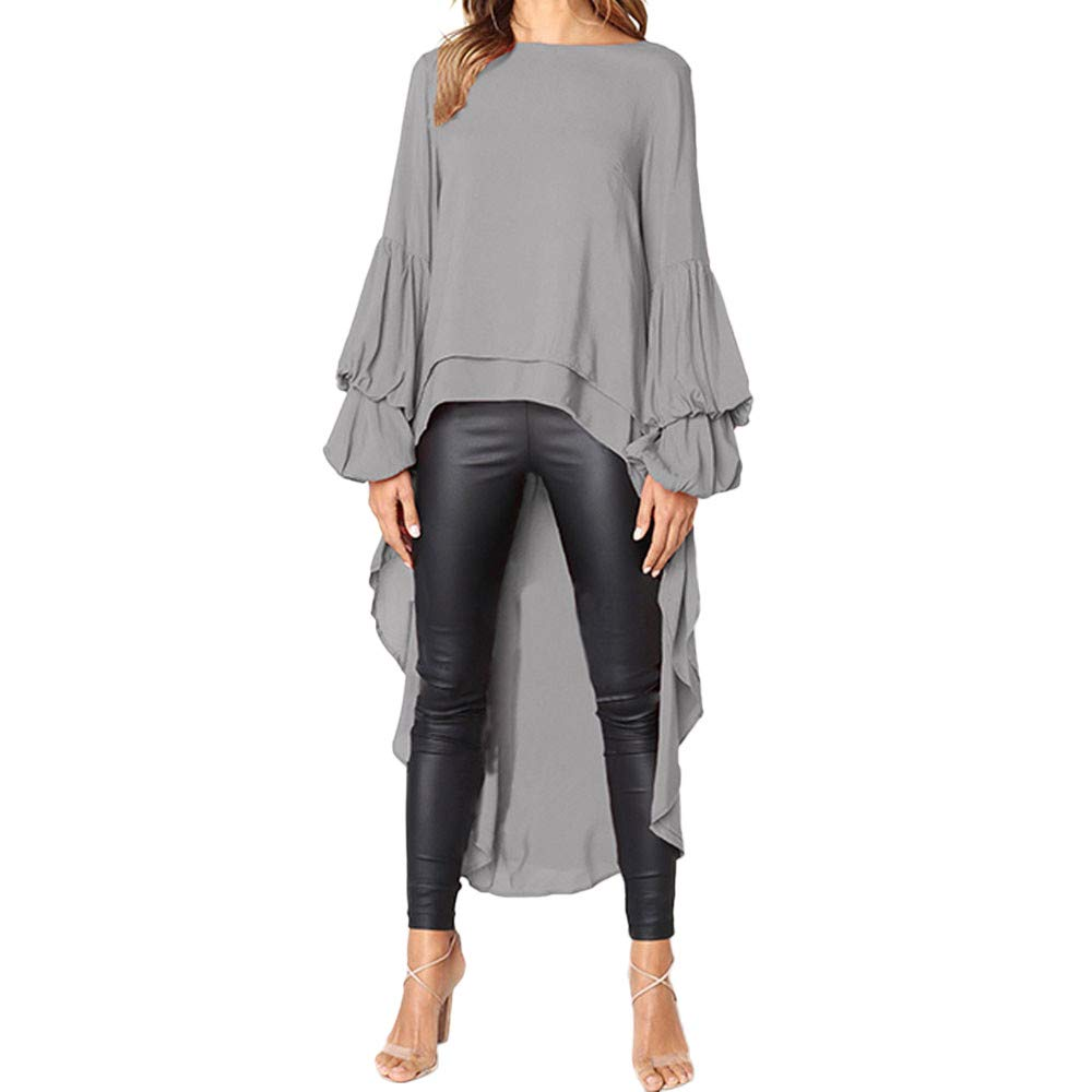 NUWFORWomen Irregular Ruffles Shirt Long Sleeve Sweatshirt Pullovers Tops Blouse GY/S(Gray,S)