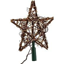 Kurt Adler 10 Light Indoor Rattan Natural Star Treetop