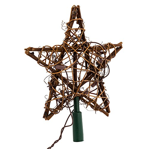 Kurt Adler 10 Light Indoor Rattan Natural Star Treetop (Light Tree Topper)