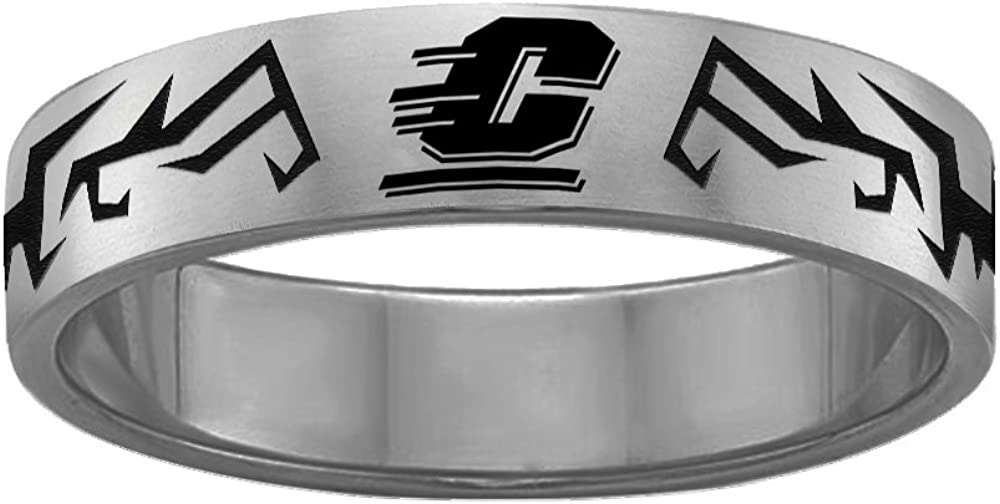 College Jewelry Tribal Design Central Michigan University Chippewas Rings Stainless Steel 8MM Wide Ring Band