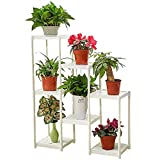 CSQ White Flower Stand, Creative 7 Tables Plant Stand Floor Shelf Living Room Bedroom Balcony Flower Pot Ornaments 8029100CM (Color : White)