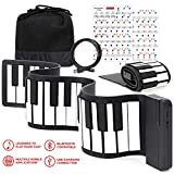 Best Choice Products Kids 49-Key Portable Flexible Roll-Up Piano Keyboard Musical Educational Toy Instrument w/Learn-To-Play App Game, Bluetooth Phone Pairing, Note Labels, USB Charging - White