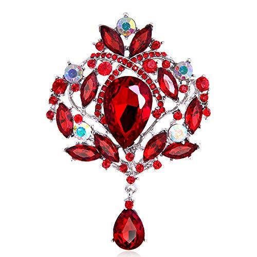(Ezing Large Silver-Tone Flower Ribbon Teardrop Multicolor Crystal Pendant Brooch (D))