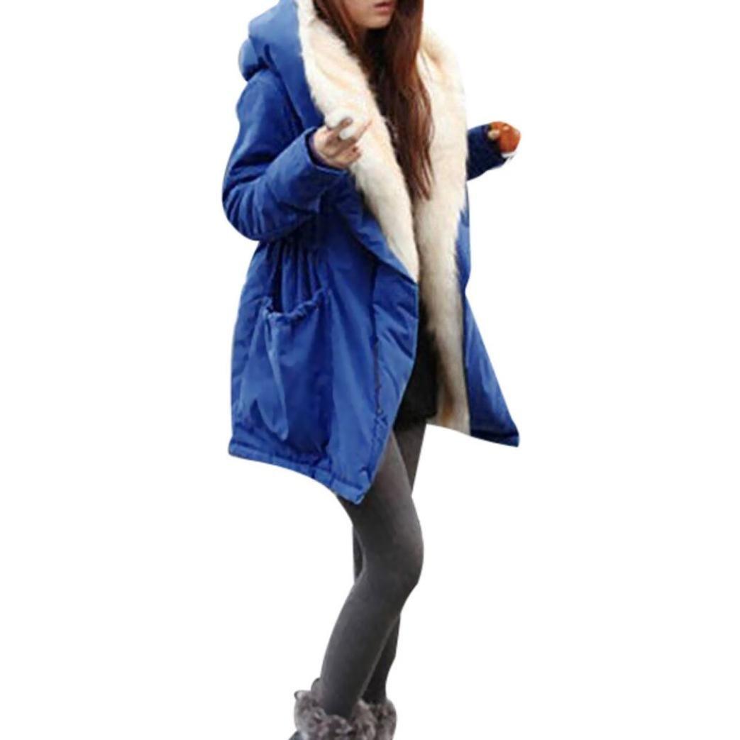 Kimloog Hot Sale!Women Fleece Faux Fur Thick Warm Coat Hooded Jacket Parka Trench Outwear With Pockets (M, Blue)