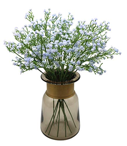 Anatural Artificial Flowers, Fake Flowers Babys Breath Gypsophila Flowers Steam Bouquet for Wedding Party Home Garden Table Centerpieces Decorations 10pcs 15.7 Inches (Blue) (Blue Centerpiece Table Flower)