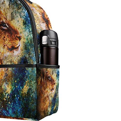 COOSUN Little Lion Cub Kopf Tier Malerei Leichte Leinwand Kinder Schule Rucksack Buch Tasche für Jungen Mädchen COYVn