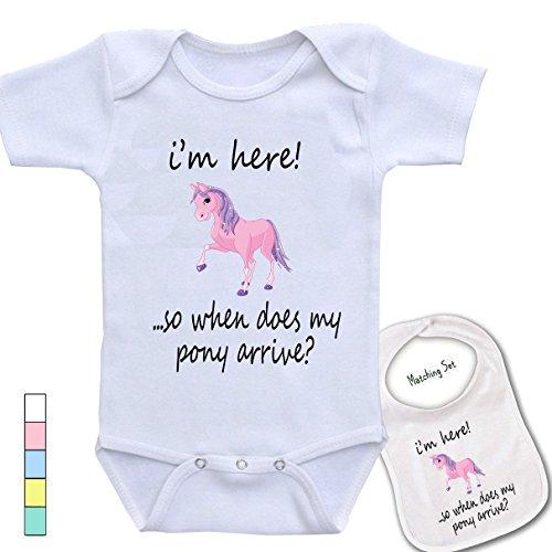 (I'm here ..so where is my pony? -Cute custom Baby bodysuit onesie & matching bib)