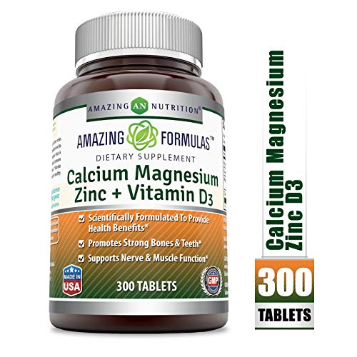 Amazing Formulas Calcium Magnesium Zinc + D3 - 300 Tablets Per Bottle (Calcium 1000mg - Magnesium 400mg - Zinc 25mg Plus Vitamin D3 600 IU - Per Serving of 3 Tablets) (Zinc Tablets Calcium Magnesium 100)