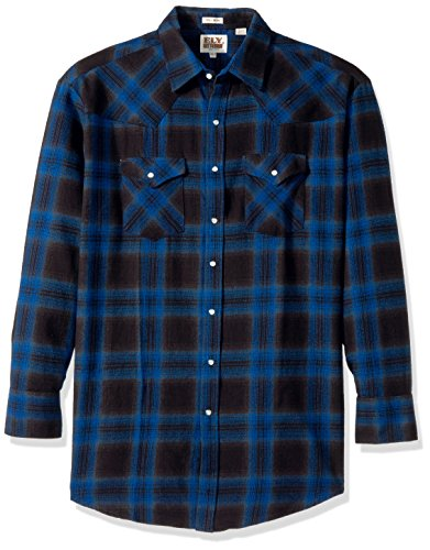 Ely & Walker Men's Size Long Sleeve Brawny Flannel Shirt, Blue, 2X-Large Tall (Blue Mens Walker)