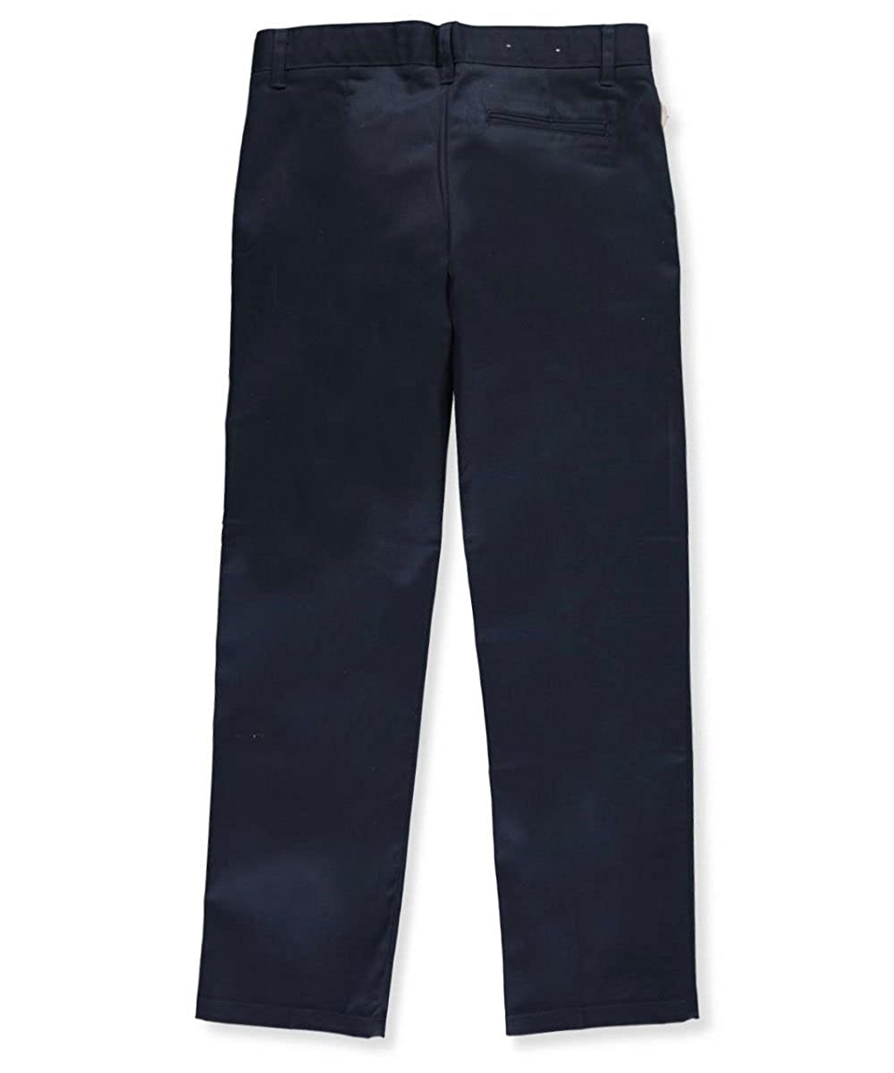 French Toast Big Boys' Husky Flat Front Wrinkle No More Double Knee Pants - navy, 16h