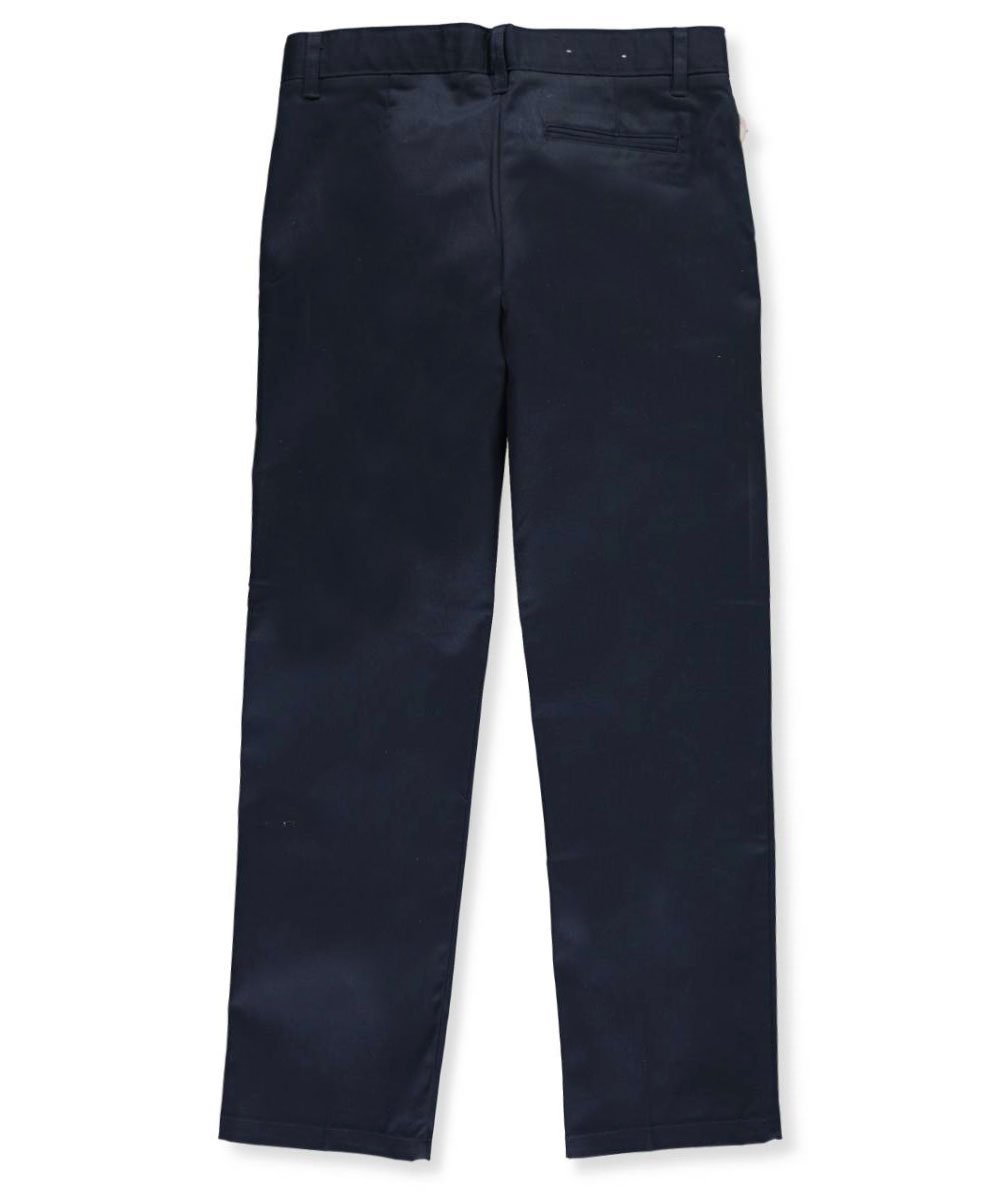 French Toast Big Boys' Husky Flat Front Wrinkle No More Double Knee Pants - navy, 12h