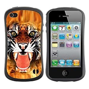 Suave TPU GEL Carcasa Funda Silicona Blando Estuche Caso de protección (para) Apple Iphone 4 / 4S / CECELL Phone case / / Tiger Angry Face Big Cat Teeth Green Eyes /